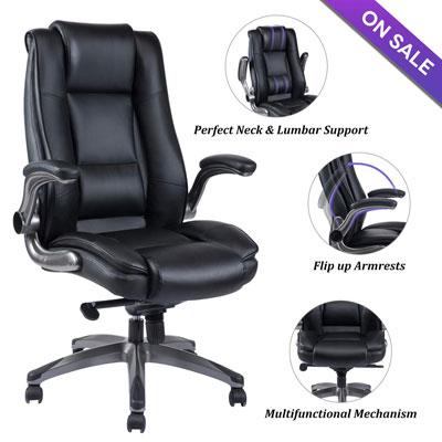 2 Chaise de bureau en cuir à dossier haut VANBOW