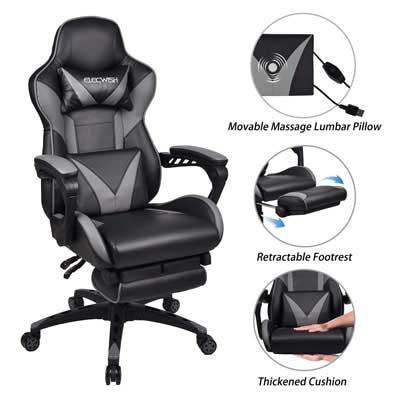 4 Chaise de bureau de jeu en cuir pour ordinateur de massage ELECWISH